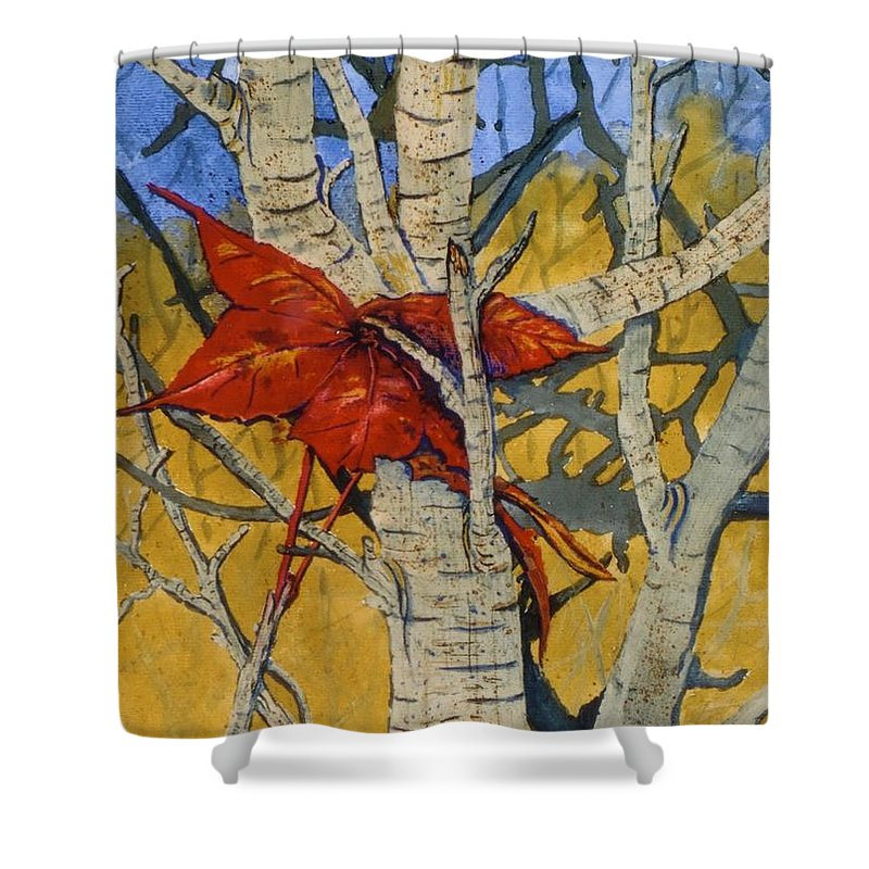 Fall Shower Curtain featuring the painting Last Leaf by Don Hand