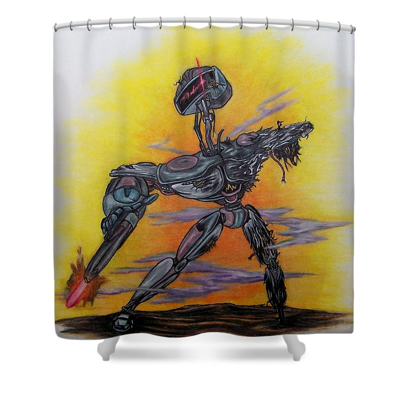 Michael Shower Curtain featuring the drawing Last Resort by Michael TMAD Finney