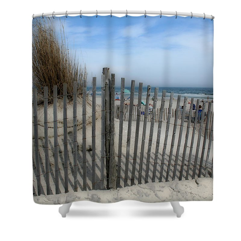 Landscapes Beach Art Sand Art Fence Wood Sky Blue Summertime Ocean Shower Curtain featuring the photograph Last Summer by Linda Sannuti