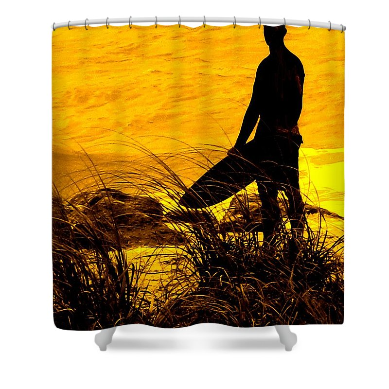 Florida Shower Curtain featuring the photograph Last Surfer Standing by Ian MacDonald