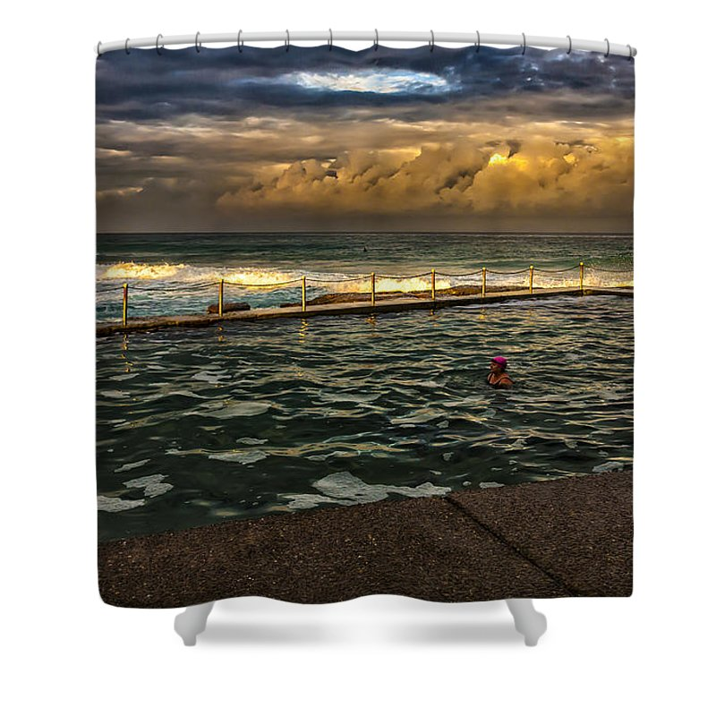 Avalon Beach Shower Curtain featuring the photograph Late Afternoon Swimmer by Sheila Smart Fine Art Photography