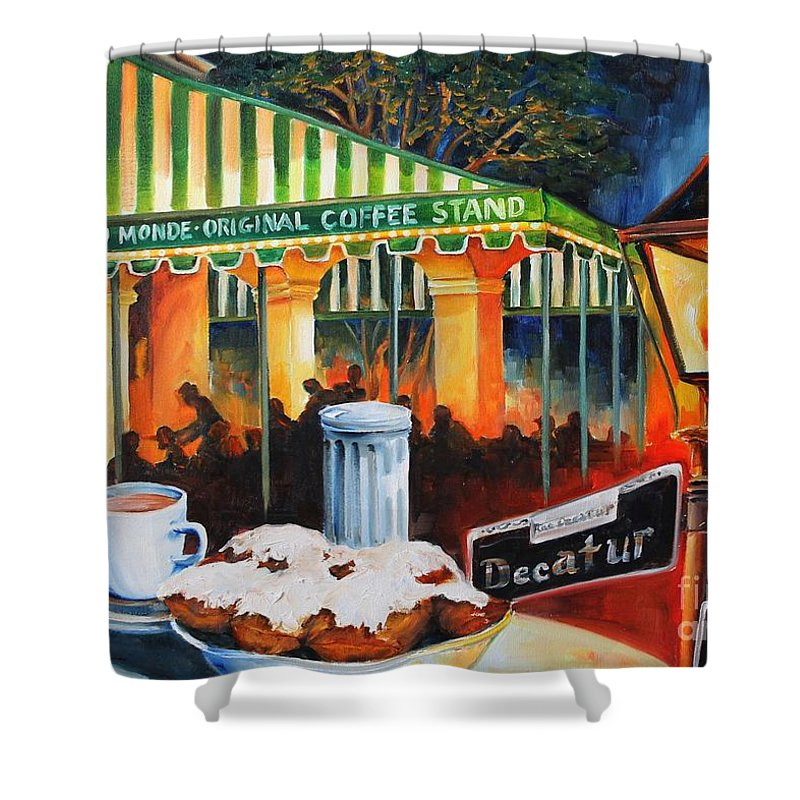 New Orleans Shower Curtain featuring the painting Late At Cafe Du Monde by Diane Millsap