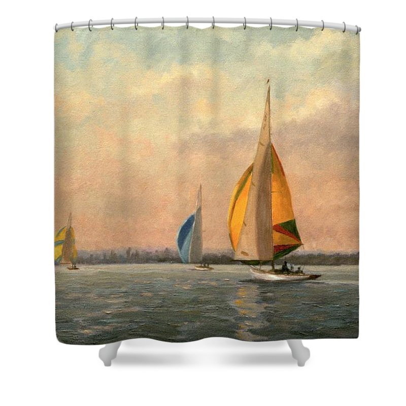 Gull; Boat; Sailing; Pier; Port Shower Curtain featuring the painting Late Finish Featuring Dragons On The Medway by Vic Trevett