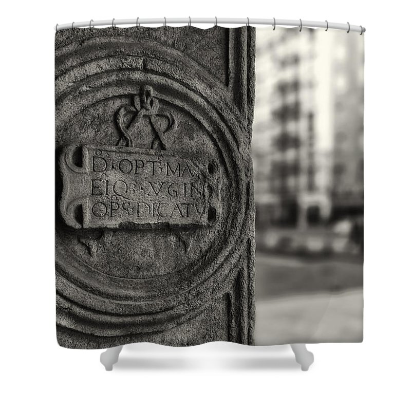 Color Efex Pro Shower Curtain featuring the photograph Latin Inscription by Roberto Pagani
