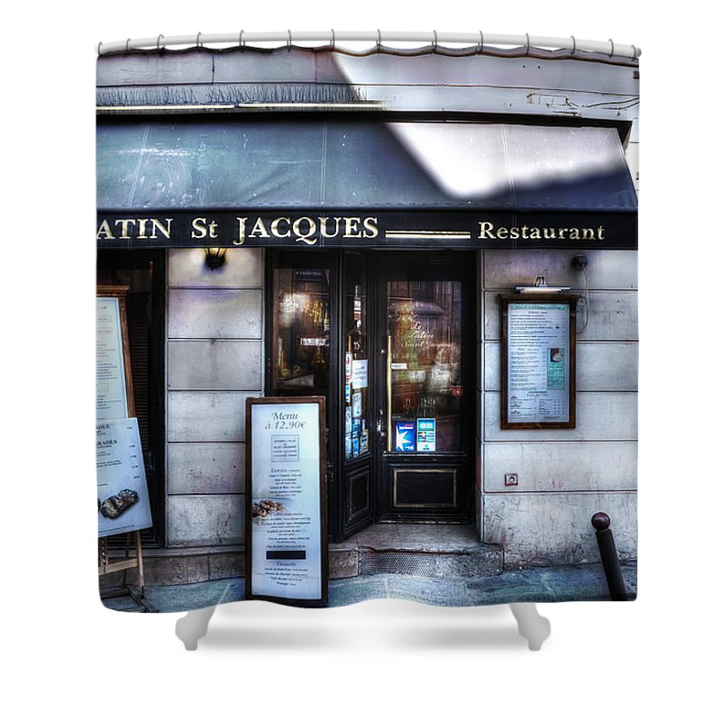 Evie Shower Curtain featuring the photograph Latin St Jacques Paris France by Evie Carrier