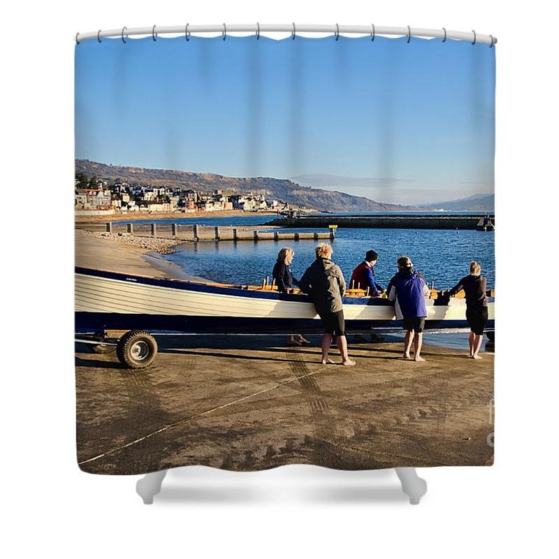 Gig Shower Curtain featuring the photograph Launching Black Ven by Susie Peek