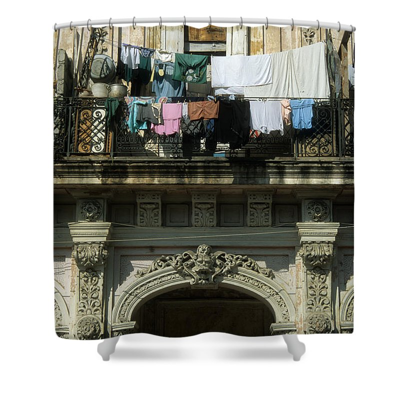Cuba Shower Curtain featuring the photograph Laundry Day by James Brunker