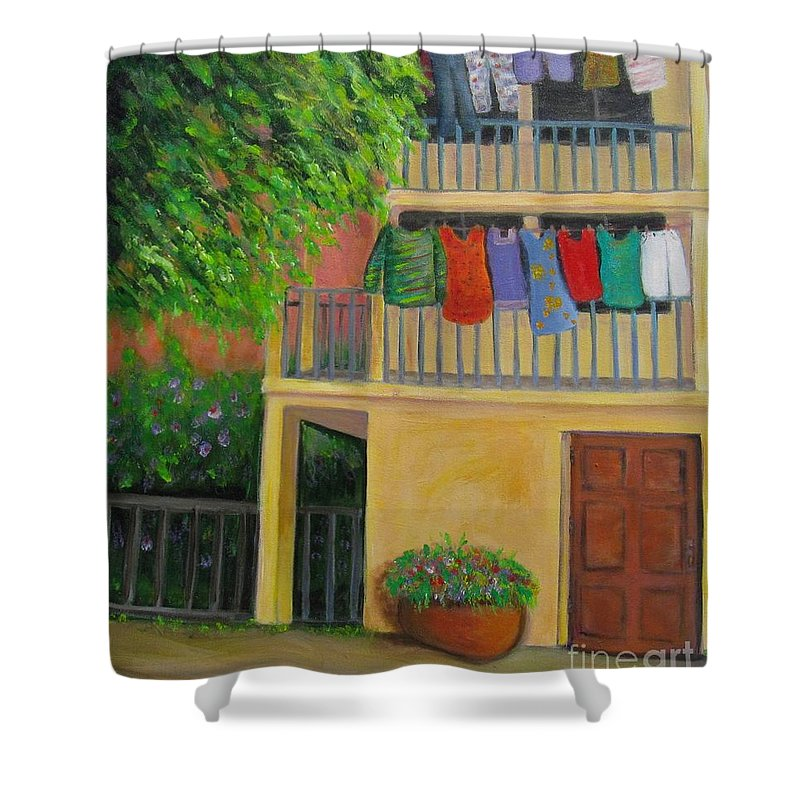 Laundry Shower Curtain featuring the painting Laundry Day by Laurie Morgan