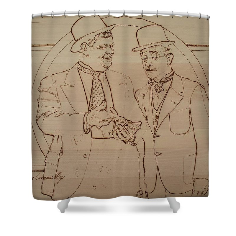 Pyrography Shower Curtain featuring the pyrography Laurel And Hardy - Thicker Than Water by Sean Connolly