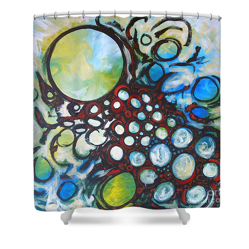 Dot Shower Curtain featuring the painting Lava Lamp Studio No.1 by Tonya Henderson