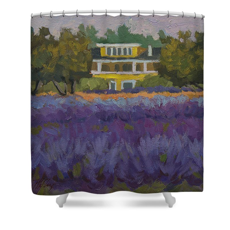 Lavender Shower Curtain featuring the painting Lavender Farm On Vashon Island by Diane McClary