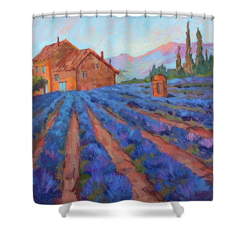 Lavender Field Shower Curtain featuring the painting Lavender Field Provence by Diane McClary