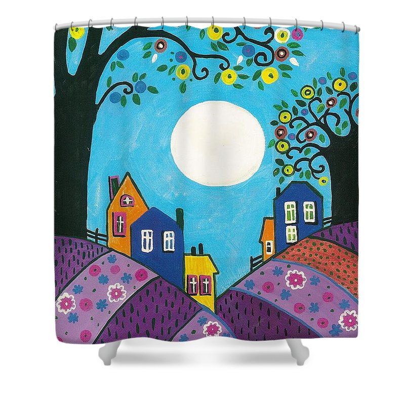Abstract Shower Curtain featuring the painting Lavender Hills by Margaryta Yermolayeva