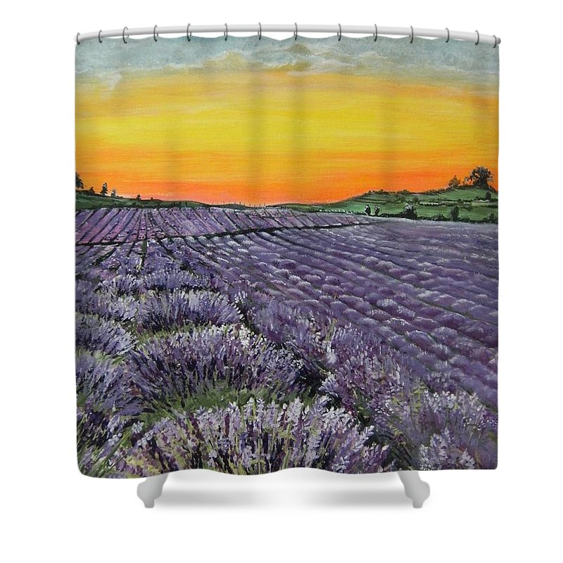 Landscape Shower Curtain featuring the painting Lavender Oasis by Connie Rowsell