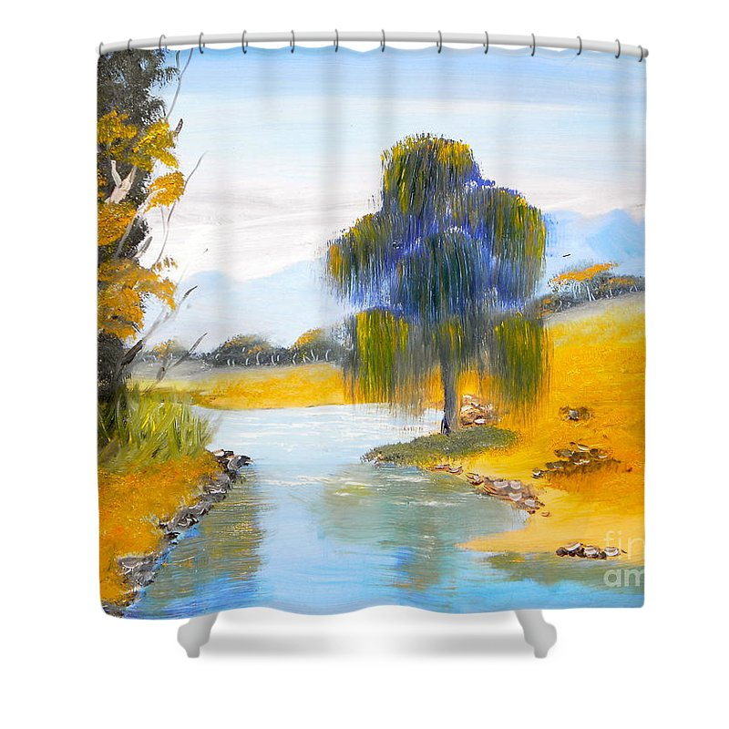 Impressionism Shower Curtain featuring the painting Lawson River by Pamela Meredith