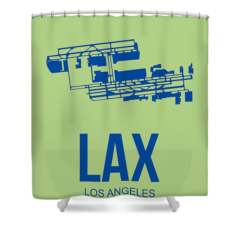 Los Angeles Shower Curtain featuring the digital art Lax Airport Poster 1 by Naxart Studio