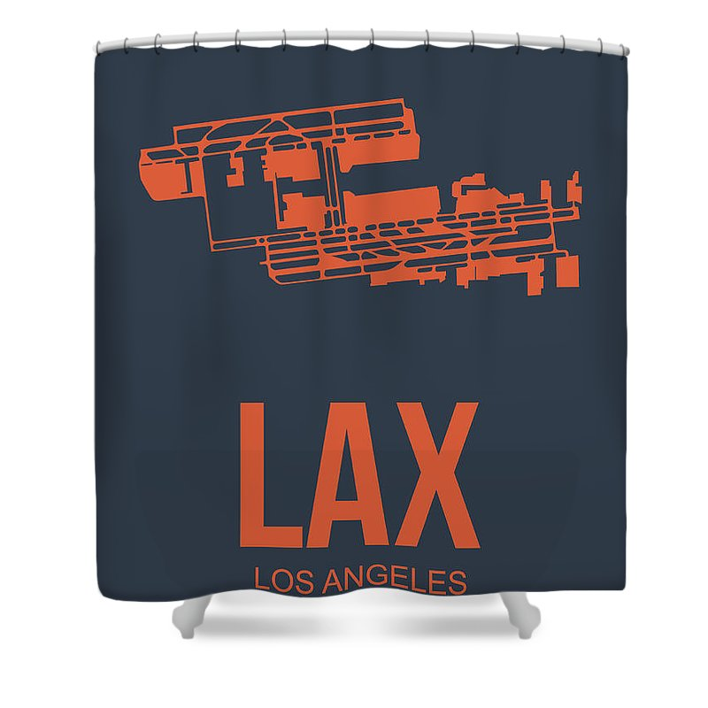Los Angeles Shower Curtain featuring the digital art Lax Airport Poster 3 by Naxart Studio