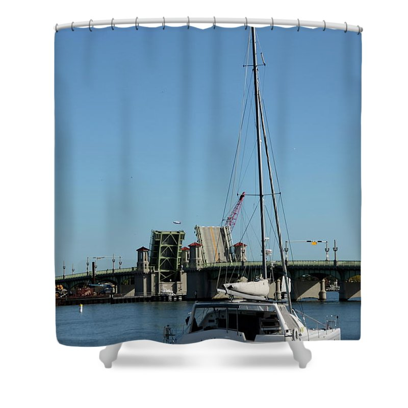 Sailing Boat Shower Curtain featuring the photograph Lay At Anchor by Christiane Schulze Art And Photography