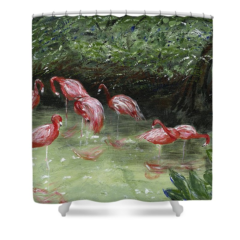 Flamingos Shower Curtain featuring the painting Lazy Afternoon by Alice Faber