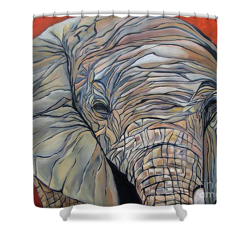 Elephant Shower Curtain featuring the painting Lazy Boy by Aimee Vance