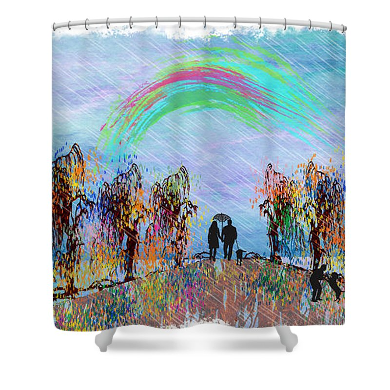 Rain Shower Curtain featuring the painting Lazy Hazy Rainy Day by Ericamaxine Price
