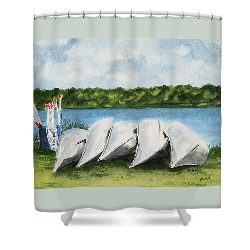 Canoes Shower Curtain featuring the painting Lazy River by Regan J Smith
