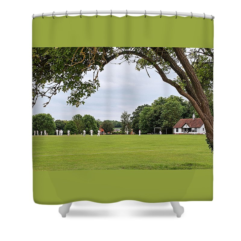 English Village Shower Curtain featuring the photograph Lazy Sunday Afternoon - Cricket On The Village Green by Gill Billington