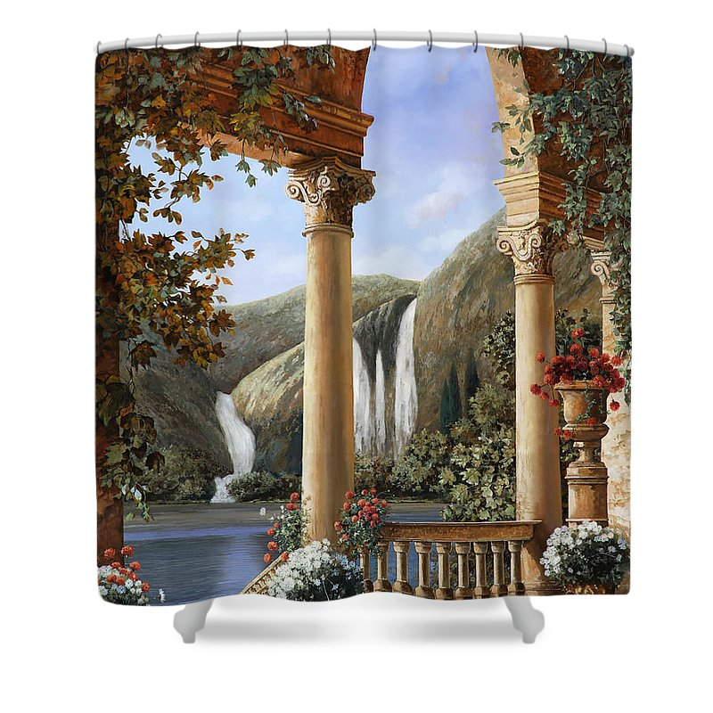 Water Fall Shower Curtain featuring the painting Le Cascate by Guido Borelli
