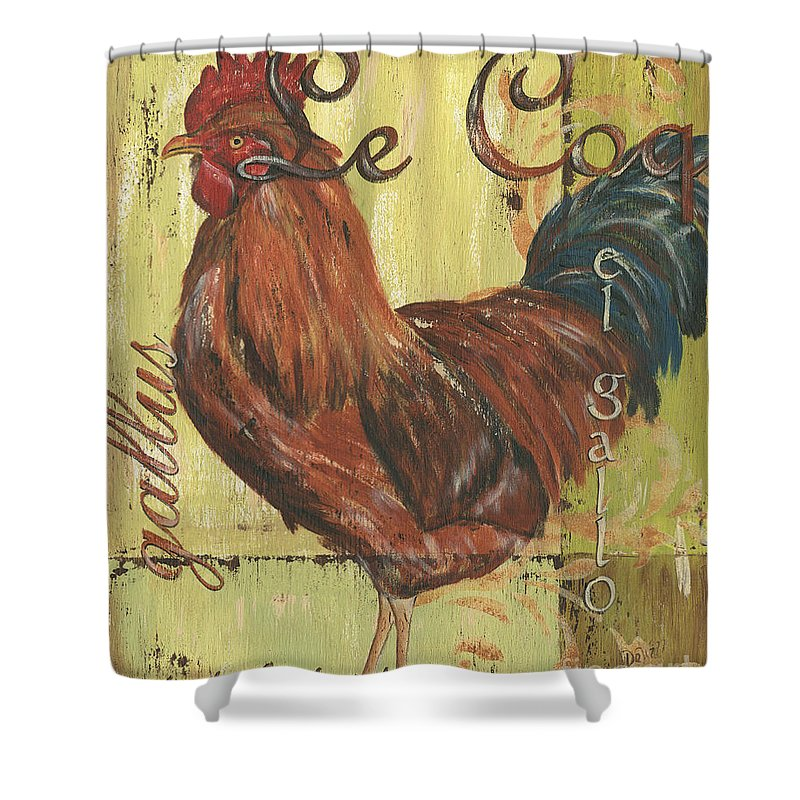 Rooster Shower Curtain featuring the painting Le Coq by Debbie DeWitt