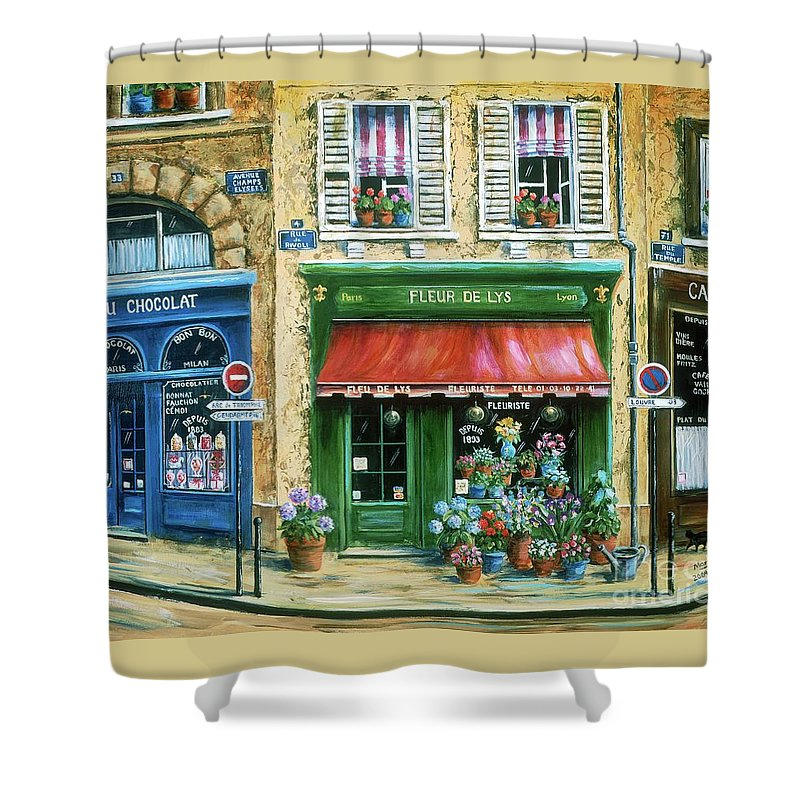 Europe Shower Curtain featuring the painting Le Fleuriste by Marilyn Dunlap