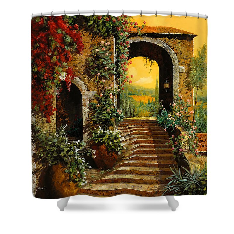 Arch Shower Curtain featuring the painting Le Scale  by Guido Borelli