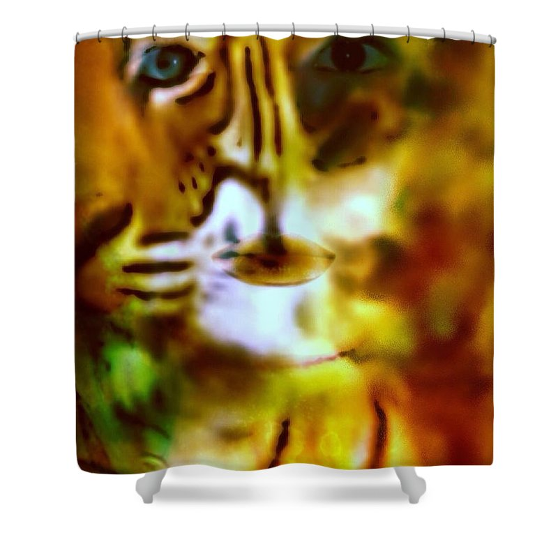 Le Tigre Shower Curtain featuring the digital art Le Tigre by Pikotine Art