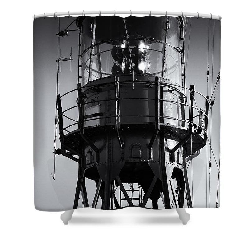 Antenna Shower Curtain featuring the photograph Lead Me Home Lightship. by Jan Brons