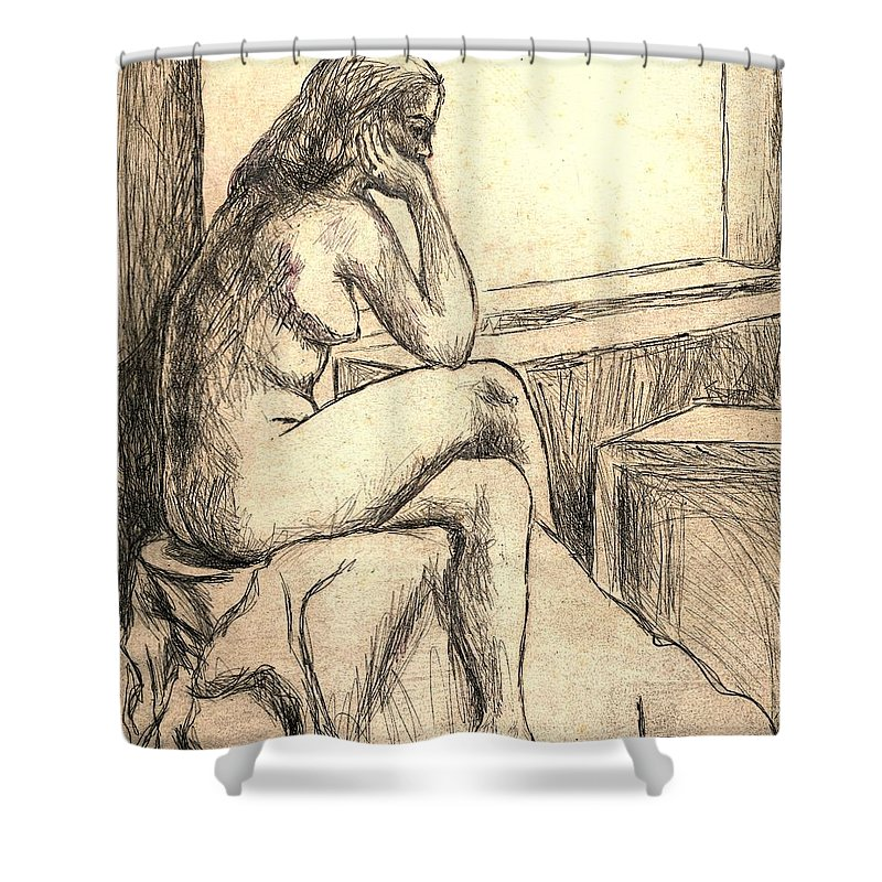 Nude Shower Curtain featuring the drawing Leaning Into The Day by Kendall Kessler