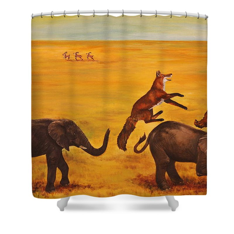 Fox Shower Curtain featuring the painting Leap Frog by Michelle Miron-Rebbe