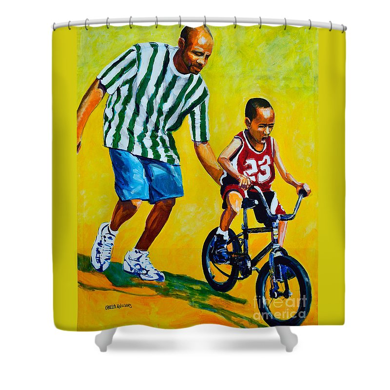 Bicycle Shower Curtain featuring the painting Learning To Rode by Charles M Williams