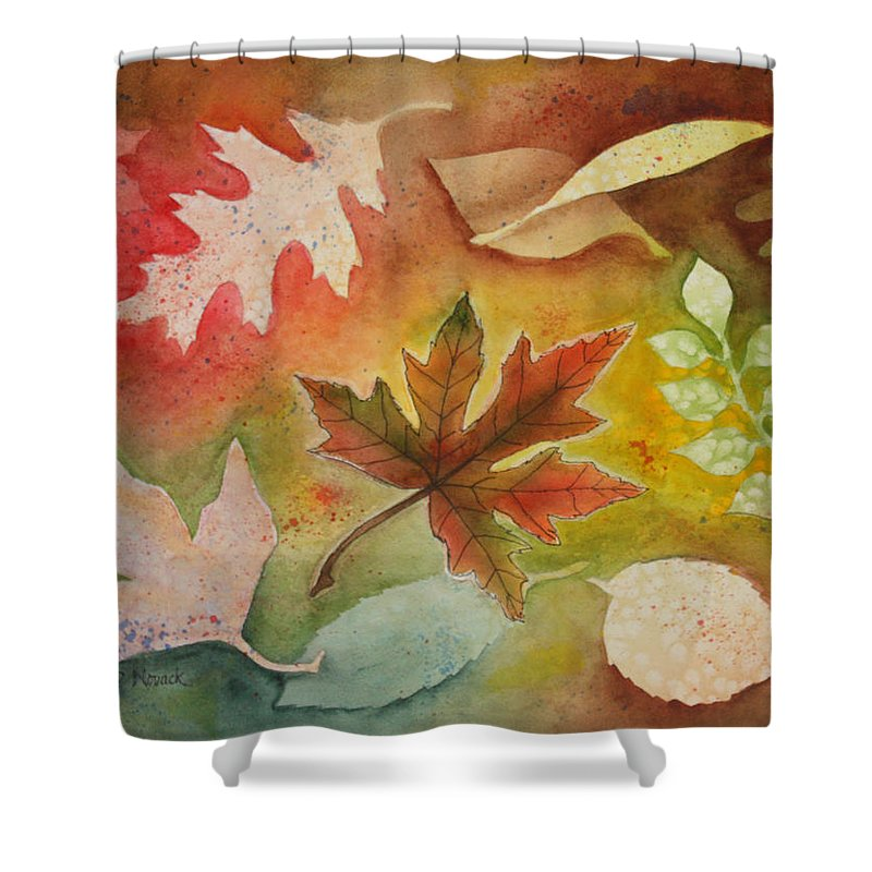 Leaves Shower Curtain featuring the painting Leaves L by Patricia Novack