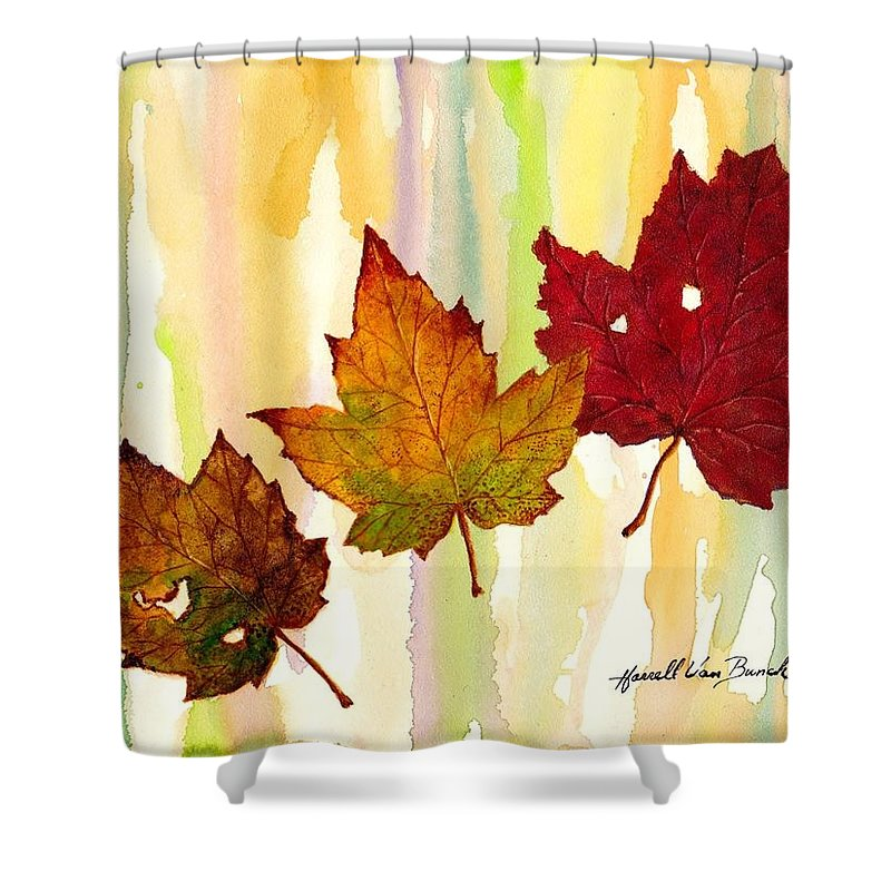 Fall Shower Curtain featuring the painting Leaves Of Fall by Van Bunch