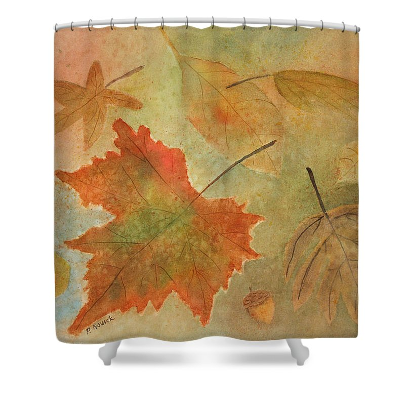Leaves Shower Curtain featuring the painting Leaves Vll by Patricia Novack