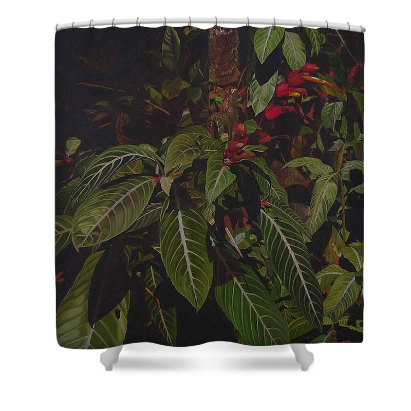 Leaves Shower Curtain featuring the painting Leaving Monroe by Thu Nguyen