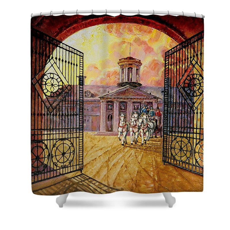 Manor House In Russia Shower Curtain featuring the painting Leaving The Mansion by Raffi Jacobian