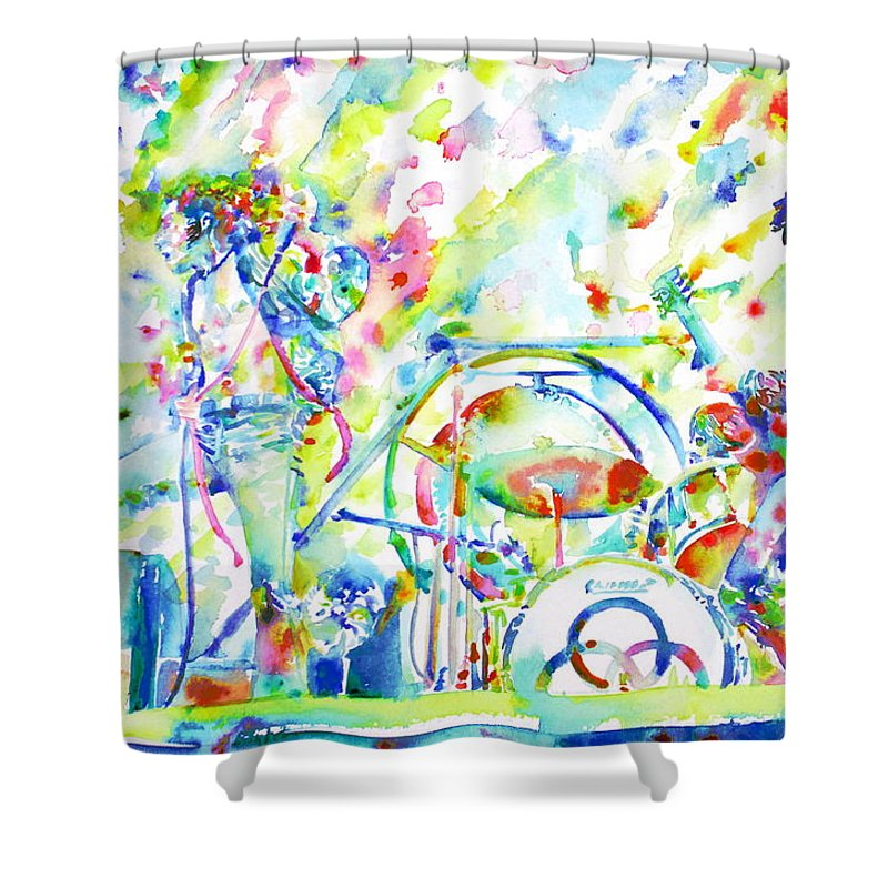 Led Shower Curtain Featuring The Painting Zeppelin Live Concert