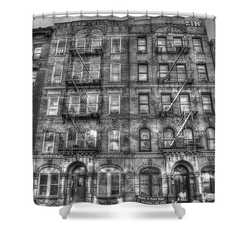 Led Zeppelin Shower Curtain Featuring The Photograph Physical Graffiti Building In Black And White