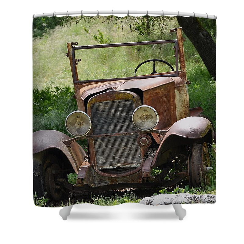 Old Car Shower Curtain featuring the photograph Left To Die by Debby Pueschel