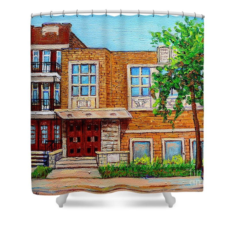 Montreal Shower Curtain featuring the painting Legare And Hutchison Synagogue Montreal by Carole Spandau