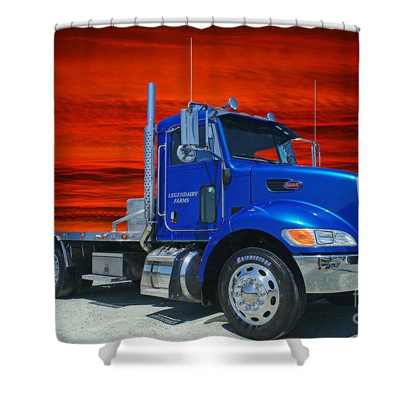 Trucks Shower Curtain featuring the photograph Legendairy Farms Peterbilt Catr3127-12 by Randy Harris
