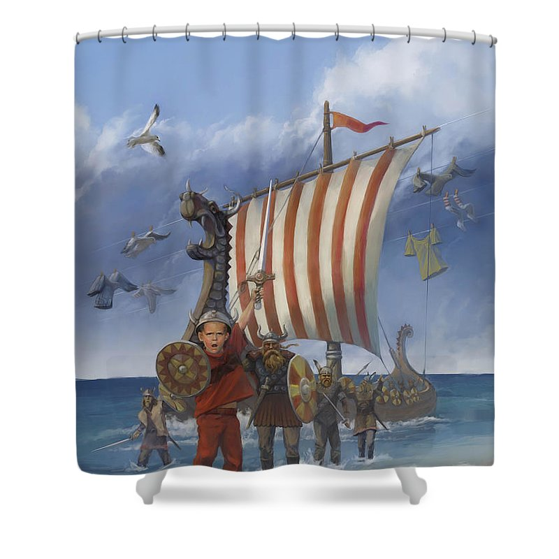 Viking Shower Curtain Featuring The Painting Legendary By Rob Corsetti