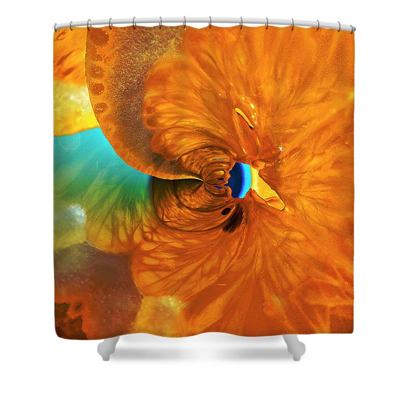 Lemon Shower Curtain featuring the photograph Lemonade With A Twist by Angela Stanton
