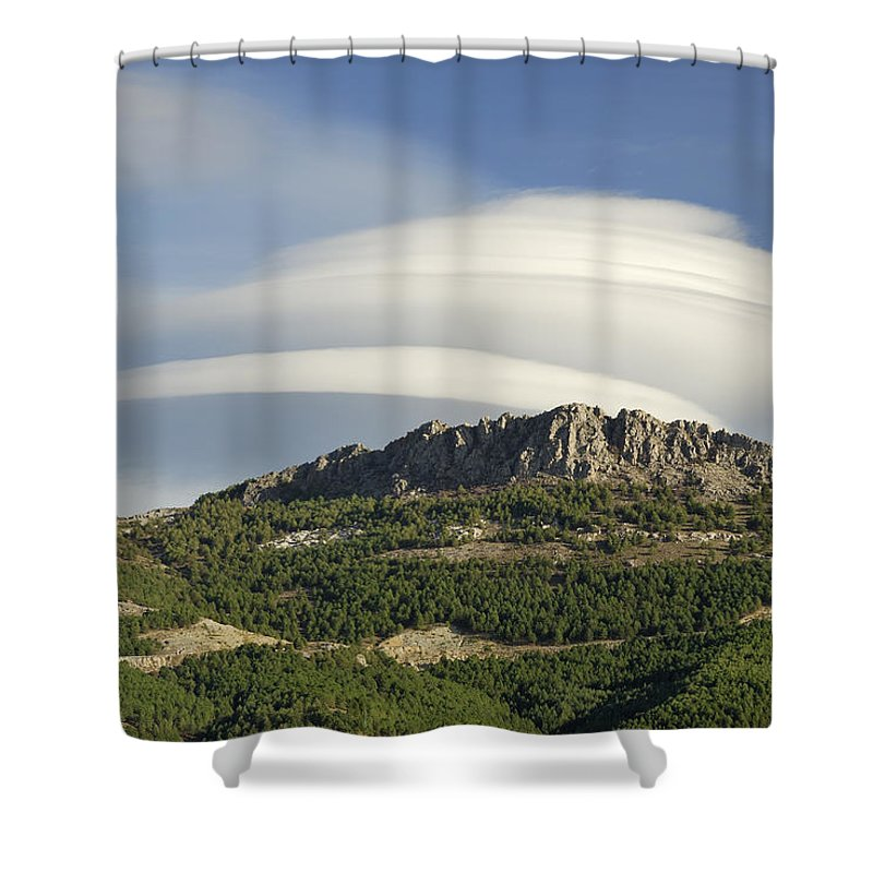 Lenticular Shower Curtain featuring the photograph Lenticular Clouds Over Dornajo Mountain by Guido Montanes Castillo