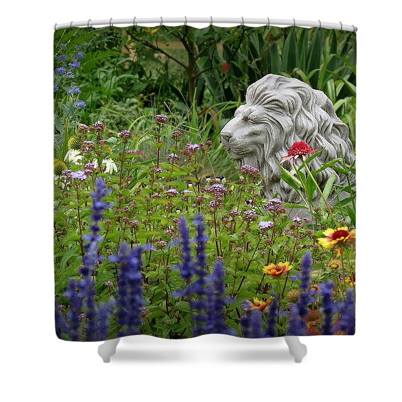 Leo Shower Curtain featuring the photograph Leo In The Garden by MTBobbins Photography
